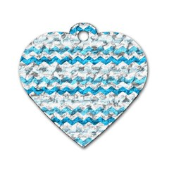Baby Blue Chevron Grunge Dog Tag Heart (one Side)