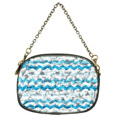 Baby Blue Chevron Grunge Chain Purses (two Sides)