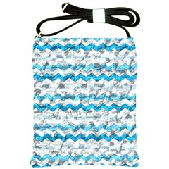 Baby Blue Chevron Grunge Shoulder Sling Bags