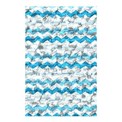 Baby Blue Chevron Grunge Shower Curtain 48  X 72  (small)  by designworld65