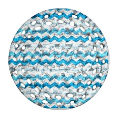 Baby Blue Chevron Grunge Round Filigree Ornament (two Sides)
