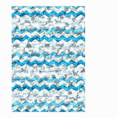 Baby Blue Chevron Grunge Small Garden Flag (two Sides)