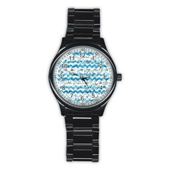 Baby Blue Chevron Grunge Stainless Steel Round Watch