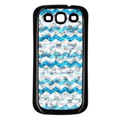 Baby Blue Chevron Grunge Samsung Galaxy S3 Back Case (black)