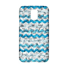 Baby Blue Chevron Grunge Samsung Galaxy S5 Hardshell Case  by designworld65