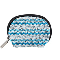 Baby Blue Chevron Grunge Accessory Pouches (small)  by designworld65