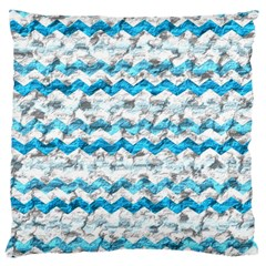 Baby Blue Chevron Grunge Large Flano Cushion Case (two Sides) by designworld65