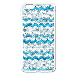 Baby Blue Chevron Grunge Apple Iphone 6 Plus/6s Plus Enamel White Case