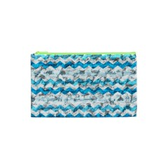 Baby Blue Chevron Grunge Cosmetic Bag (xs)
