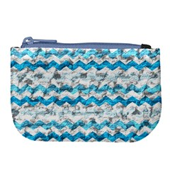 Baby Blue Chevron Grunge Large Coin Purse