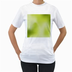 Green Soft Springtime Gradient Women s T Shirt (white) (two Sided)