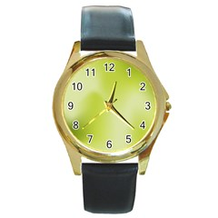 Green Soft Springtime Gradient Round Gold Metal Watch by designworld65