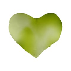 Green Soft Springtime Gradient Standard 16  Premium Flano Heart Shape Cushions by designworld65
