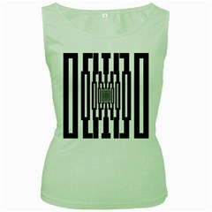 Black Stripes Endless Window Women s Green Tank Top