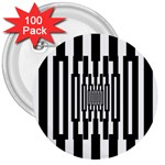 Black Stripes Endless Window 3  Buttons (100 pack)  Front