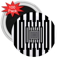 Black Stripes Endless Window 3  Magnets (100 Pack)