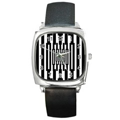 Black Stripes Endless Window Square Metal Watch by designworld65