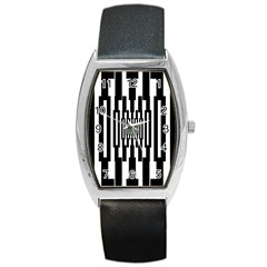 Black Stripes Endless Window Barrel Style Metal Watch by designworld65