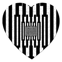 Black Stripes Endless Window Jigsaw Puzzle (heart) by designworld65