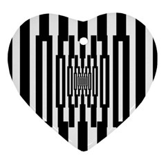 Black Stripes Endless Window Heart Ornament (two Sides)