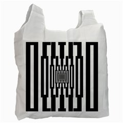 Black Stripes Endless Window Recycle Bag (one Side) by designworld65