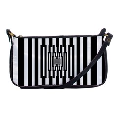 Black Stripes Endless Window Shoulder Clutch Bags by designworld65