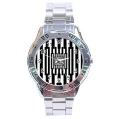 Black Stripes Endless Window Stainless Steel Analogue Watch by designworld65