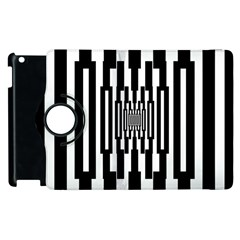 Black Stripes Endless Window Apple Ipad 3/4 Flip 360 Case by designworld65