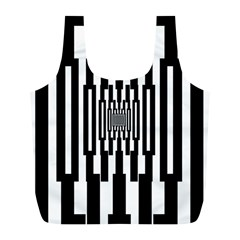 Black Stripes Endless Window Full Print Recycle Bags (l)  by designworld65