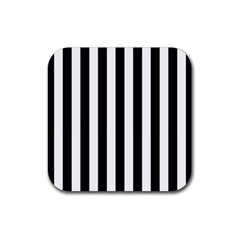 Black And White Stripes Rubber Coaster (square)  by designworld65
