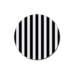 Black And White Stripes Rubber Round Coaster (4 Pack)  by designworld65