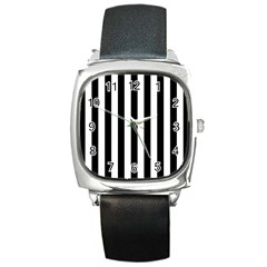Black And White Stripes Square Metal Watch