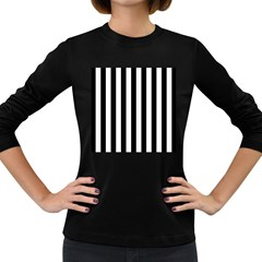 Black And White Stripes Women s Long Sleeve Dark T Shirts