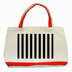 Black And White Stripes Classic Tote Bag (red) by designworld65