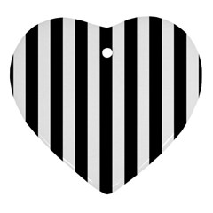 Black And White Stripes Heart Ornament (two Sides) by designworld65