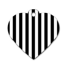 Black And White Stripes Dog Tag Heart (one Side) by designworld65