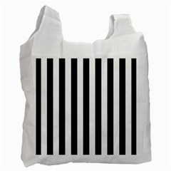 Black And White Stripes Recycle Bag (one Side) by designworld65