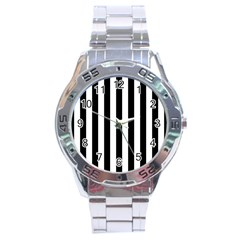 Black And White Stripes Stainless Steel Analogue Watch by designworld65