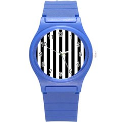 Black And White Stripes Round Plastic Sport Watch (s) by designworld65