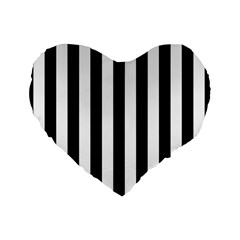 Black And White Stripes Standard 16  Premium Heart Shape Cushions by designworld65