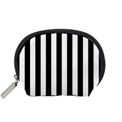 Black And White Stripes Accessory Pouches (small)  by designworld65