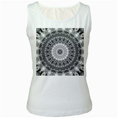 Feeling Softly Black White Mandala Women s White Tank Top by designworld65