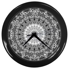 Feeling Softly Black White Mandala Wall Clocks (black) by designworld65