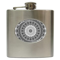 Feeling Softly Black White Mandala Hip Flask (6 Oz) by designworld65