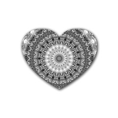 Feeling Softly Black White Mandala Heart Coaster (4 Pack)  by designworld65