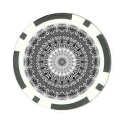 Feeling Softly Black White Mandala Poker Chip Card Guard by designworld65