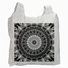 Feeling Softly Black White Mandala Recycle Bag (one Side) by designworld65