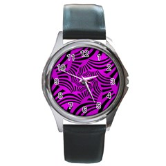 Black Spral Stripes Pink Round Metal Watch by designworld65