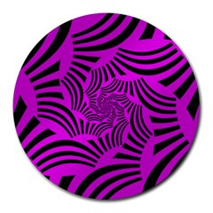 Black Spral Stripes Pink Round Mousepads by designworld65