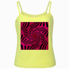 Black Spral Stripes Pink Yellow Spaghetti Tank by designworld65